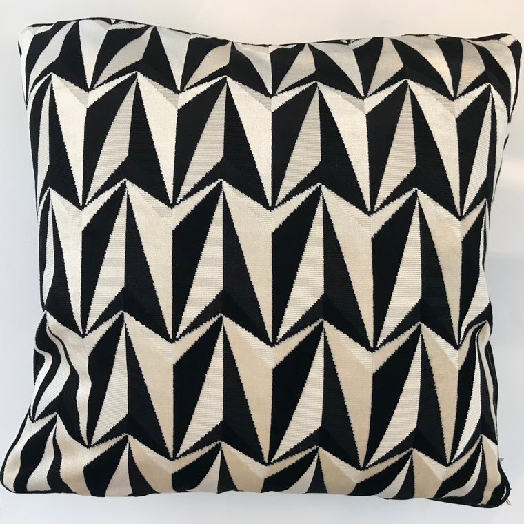 BABS PILLOW- Black and Cream Pattern- 23x23- FOUR In Stock- FREE SHIPPING