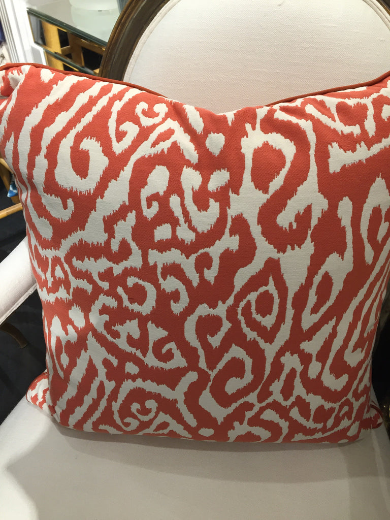 "THE OLIVIA PILLOW  - Modern Orange and White Pattern  -  22"" x 22""  -  ONE in Stock"