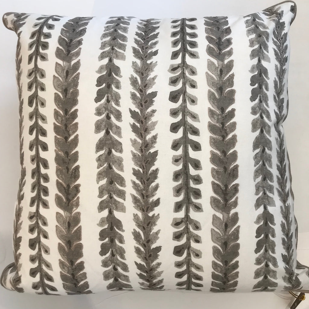 KELLY PILLOW - Taupe & White Vine Embroidery- 22x22- FREE SHIPPING
