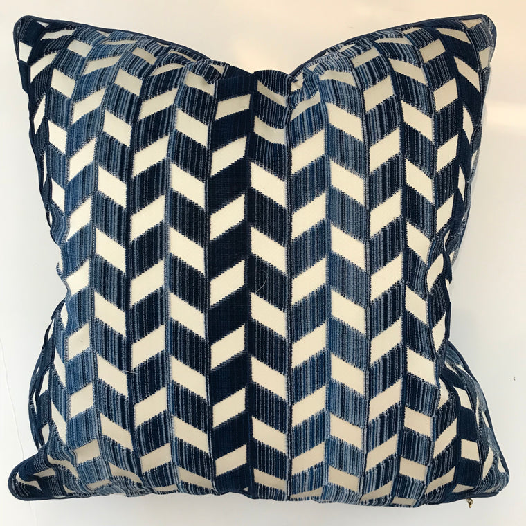 BETH PILLOW- Navy and White Pattern- 23 x 23- ONE In Stock- FREE SHIPPING