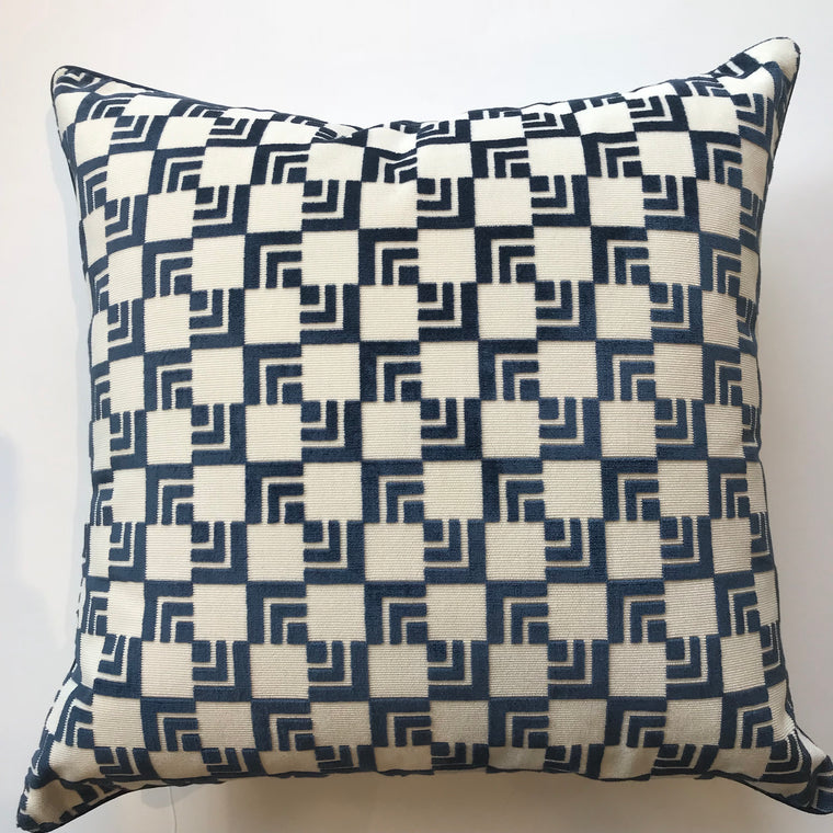 DARCY BLUE AND WHITE PILLOW- 22X22-Two In Stock