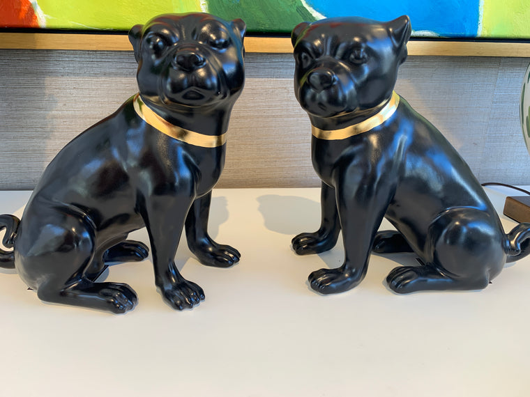 BLACK PUG PAIR  SOLD AS A PAIR