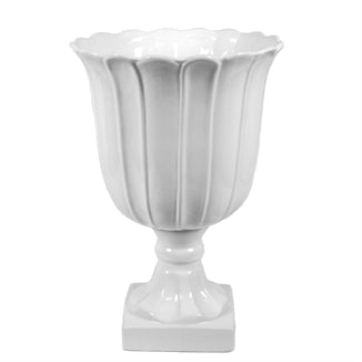 WHITE FOOTED URN VASE