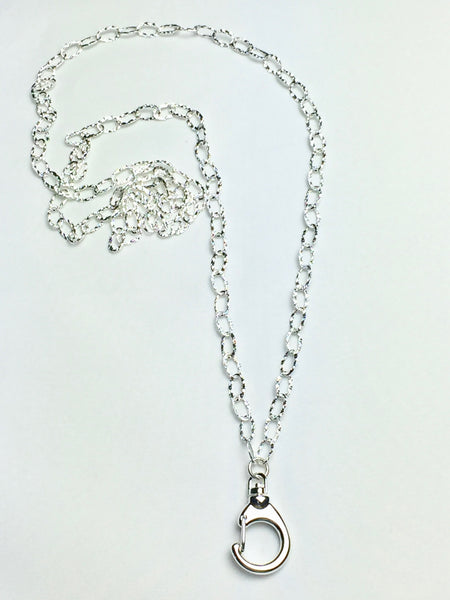 Hammered Sterling Silver Plated All Chain Lanyard