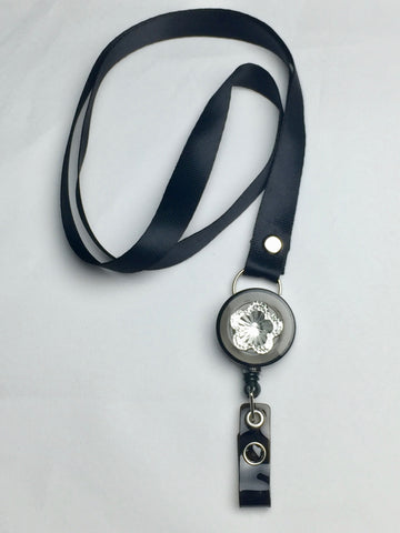 Black Nylon Lanyard with Black Bling Badge Reel