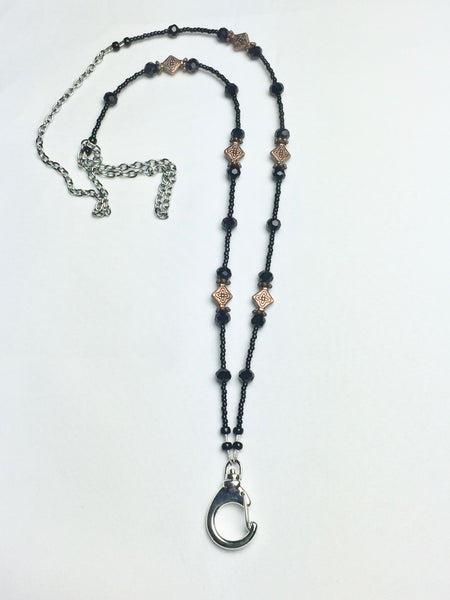 Black Crystal Lanyard with Copper Embossed Bead