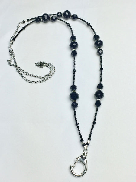 Black Crystal Lanyard with Silver Daisy