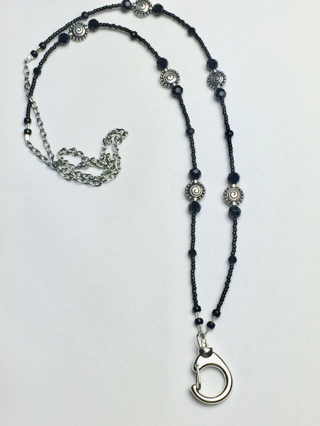 Black Crystal Lanyard with Round Metal Antique Silver Bead