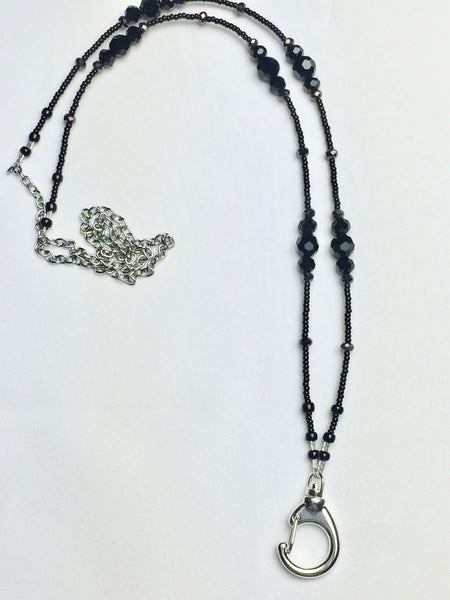 Black Crystal Lanyard with Dark Grey Crystal Accent Beads