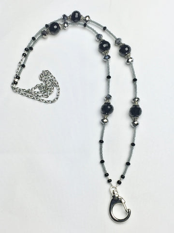 Black Lanyard accented with Silver Beads