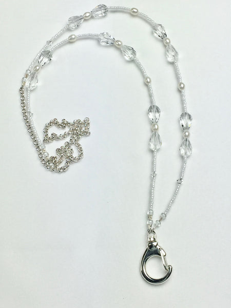 Genuine Pearl and Raindrop Clear Crystal