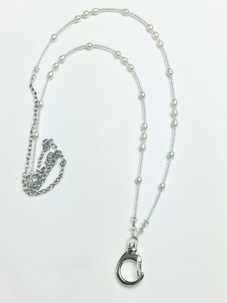 Genuine Pearl with Clear Seed Bead Lanyard