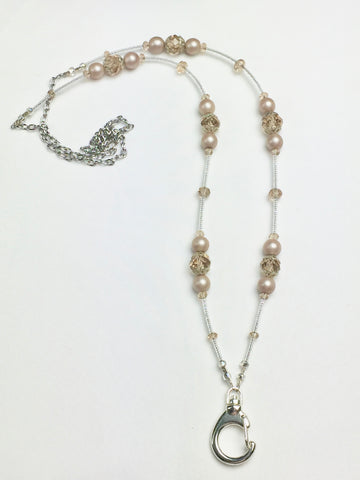 Champagne Colored Crystal and Bead Lanyard