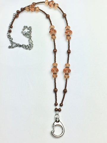 Caramel and Copper Crystal Lanyard