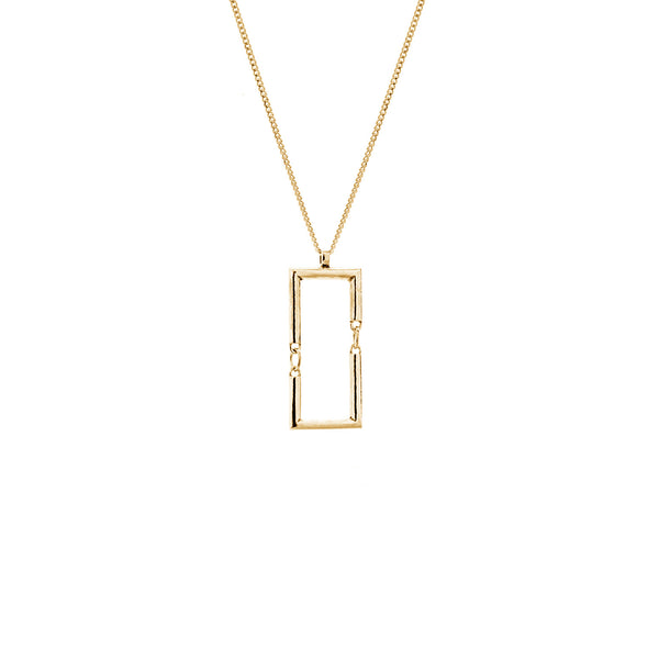 Simple rectangle necklace gold
