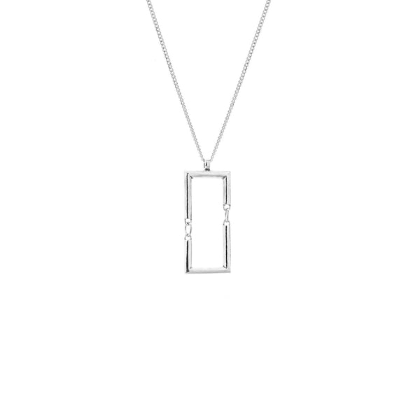 Simple rectangle necklace silver