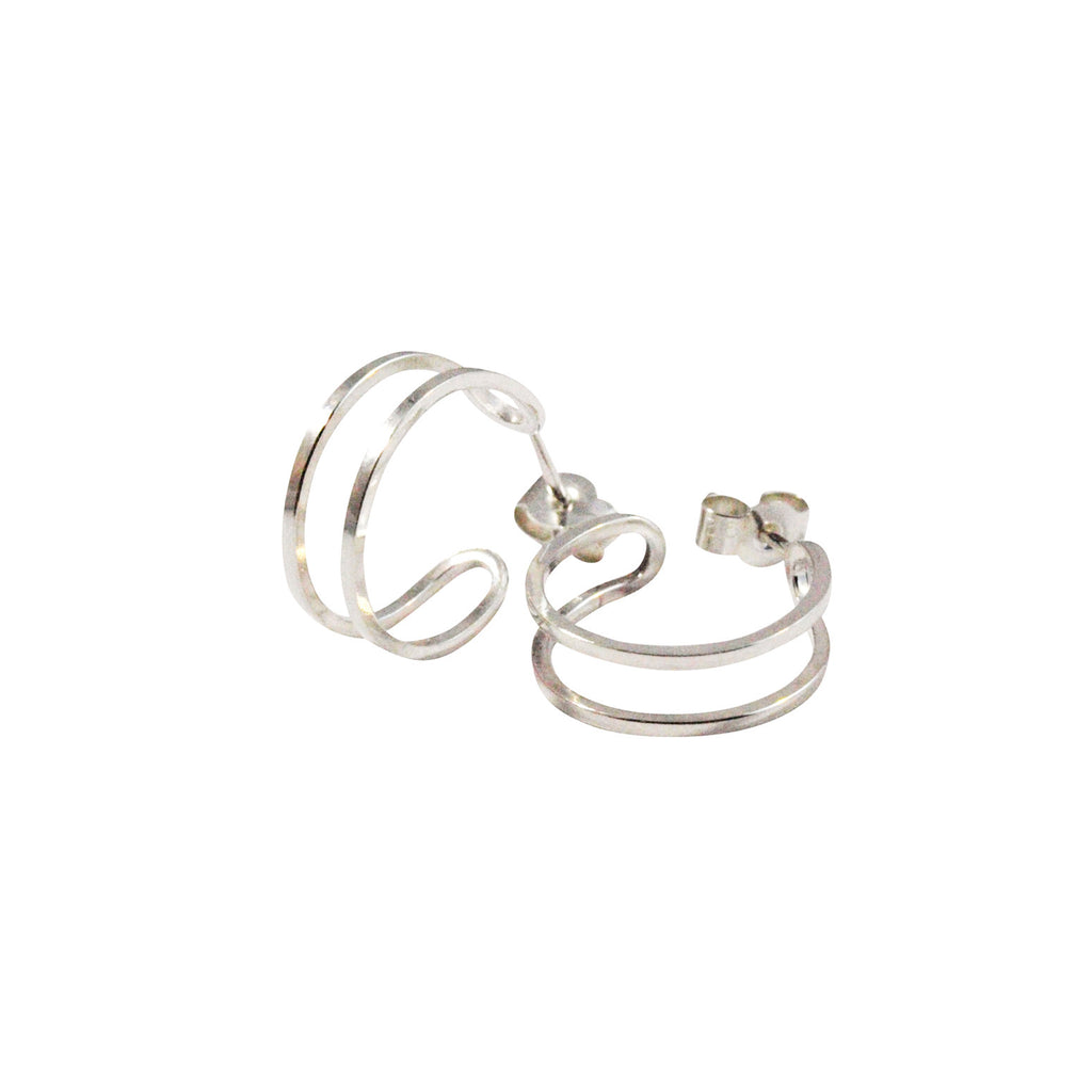Simple minimal silver hoop earrings
