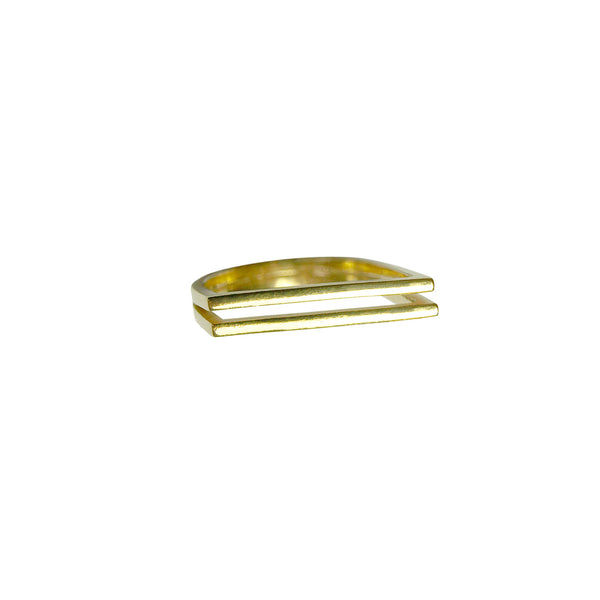Double Slant Ring Gold