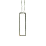 simple silver rectangle necklace