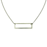 simple silver geometric rectangle necklace