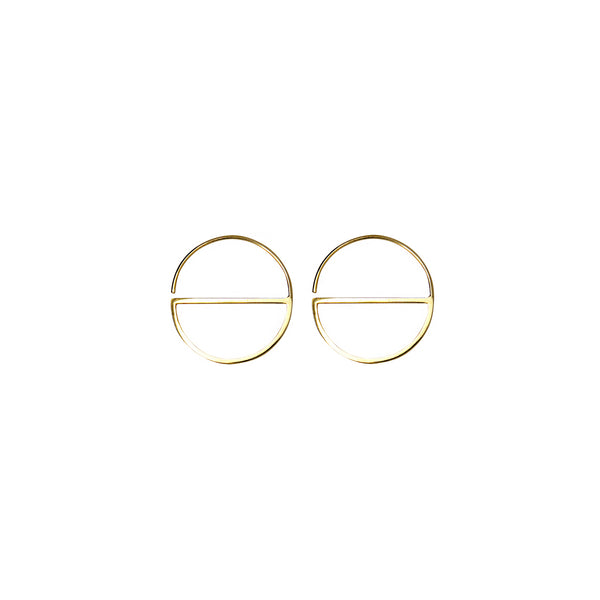 Solid gold contemporary hoops