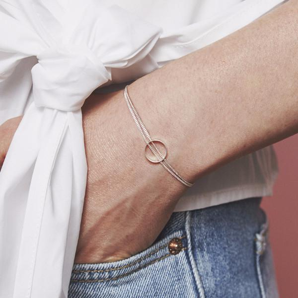 Solid white gold circle bracelet