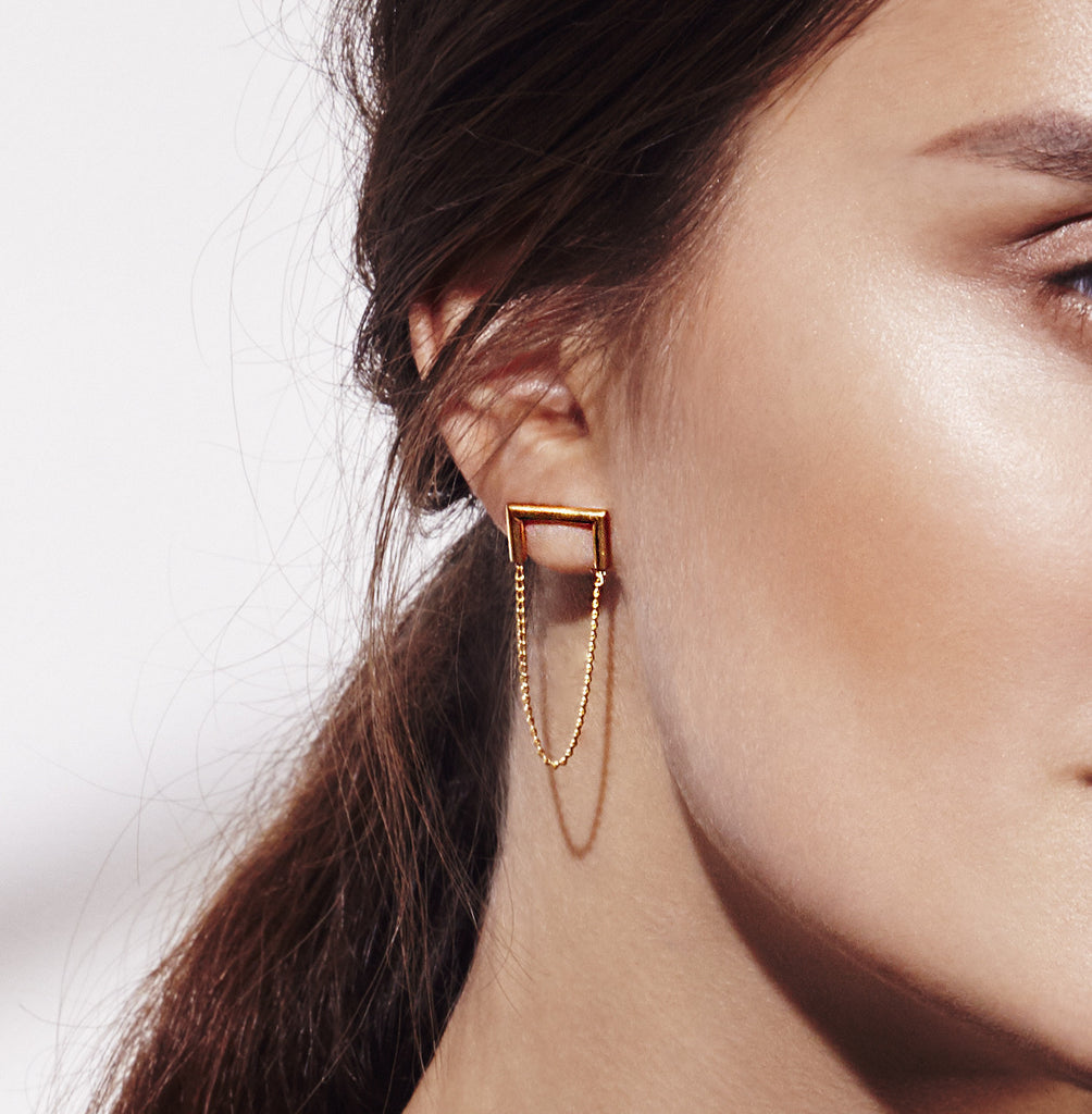 Mei-li Rose Industria Earrings - Gold plated HJGGPOhq