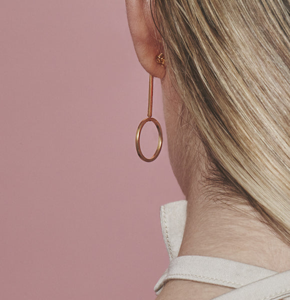 Swivel earrings. Contemporary circle line drop earrings