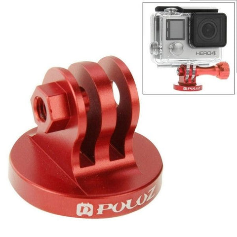 PULUZ CNC Camcorder Tripod Mount Adapter for GoPro HERO4 Session /4 /3+ /3 /2 /1, Xiaomi Yi, SJ4000, SJ5000, SJ6000(Red)