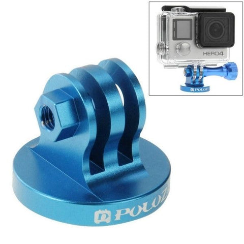 PULUZ CNC Camcorder Tripod Mount Adapter for GoPro HERO4 Session /4 /3+ /3 /2 /1, Xiaomi Yi, SJ4000, SJ5000, SJ6000(Blue)