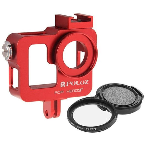 PULUZ Housing Shell CNC Aluminum Alloy Protective Cage with 37mm UV Lens Filter & Lens Cap for GoPro HERO3+ /3(Red)