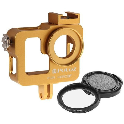 PULUZ Housing Shell CNC Aluminum Alloy Protective Cage with 37mm UV Lens Filter & Lens Cap for GoPro HERO3+ /3(Gold)
