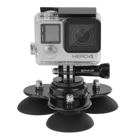 PULUZ Triangle Suction Cup Mount with Screw for GoPro HERO4 Session /4 /3+ /3 /2 /1(Black)