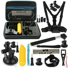 PULUZ 20 in 1 Accessories Combo Kit with EVA Case (Chest Strap + Head Strap + Suction Cup Mount + 3-Way Pivot Arm + J-Hook Buckles + Extendable Monopod + Tripod Adapter + Bobber Hand Grip + Storage Bag + Wrench) for GoPro HERO4 Session /4 /3+ /3 /2 /1