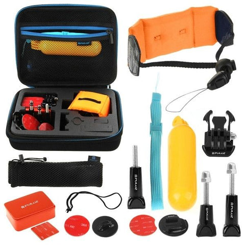 PULUZ 14 in 1 Surfing Accessories Combo Kit with EVA Case (Bobber Hand Grip + Floaty Sponge + Quick Release Buckle + Surf Board Mount + Floating Wrist Strap + Safety Tethers Strap + Storage Bag ) for GoPro HERO4 Session /4 /3+ /3 /2 /1
