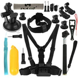 PULUZ 20 in 1 Accessories Combo Kit (Chest Strap + Head Strap + Suction Cup Mount + 3-Way Pivot Arm + J-Hook Buckles + Extendable Monopod + Tripod Adapter + Bobber Hand Grip + Storage Bag + Wrench) for GoPro HERO4 Session /4 /3+ /3 /2 /1 - Zasttra.com