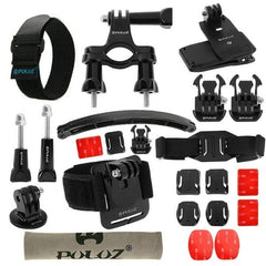 PULUZ 24 in 1 Bike Mount Accessories Combo Kit (Wrist Strap + Helmet Strap + Extension Arm + Quick Release Buckles + Surface Mounts + Adhesive Stickers + Tripod Adapter + Storage Bag + Handlebar Mount + Screws) for GoPro HERO4 Session /4 /3+ /3 /2 /1