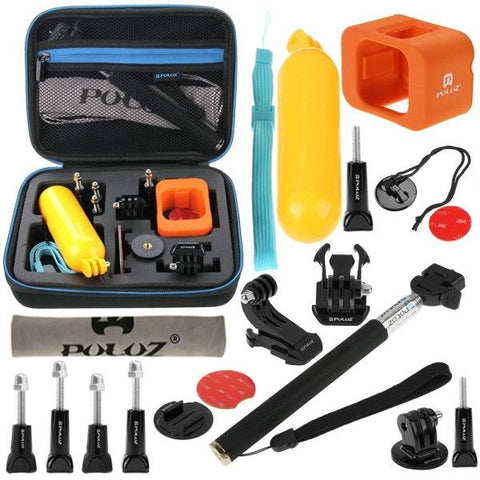 PULUZ 18 in 1 Accessories Combo Kit with EVA Case (Extendable Monopod + Bobber Hand Grip + Quick Release Buckle + J-Hook Buckle Mount + Floating Cover + Surf Board Mount + Screws + Safety Tethers Strap + Storage Bag) for GoPro HERO4 Session
