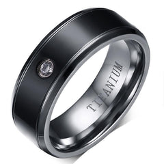 Black Titanium Ring with CZ detail - US 9
