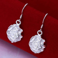 925 Sterling Silver filled Ladies rose design dangle earrings