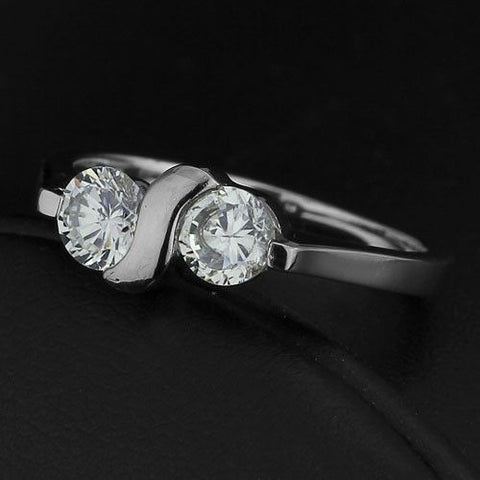 1.00ctw Cubic Zirconia Stainless Steel Dress Ring