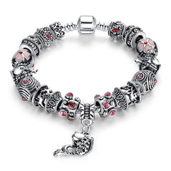 Fish Charm Bracelet 925 Tibetan Silver Murano Glass For Women