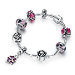 European Style 925 Silver Bracelet With Flower Heart Charm Murano Bead - Purple