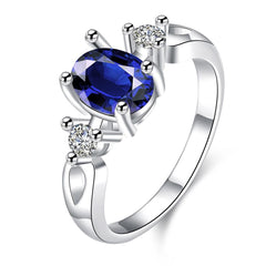 925 Sterling Silver filled Blue engagement style ladies ring with AAA genuine crystals