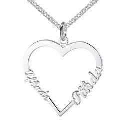 Personalized Name Necklace Heart Design - Silver