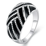 925 Sterling Silver filled Ladies ring with black detail work