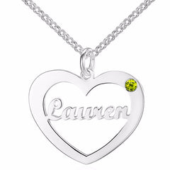 Personalized Name Necklace Heart Design with Birthstone choice - Silver