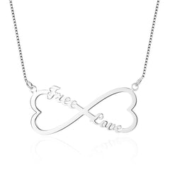 Name Necklace Infinity Heart with 2 names Rose or Yellow Gold or Silver - Silver