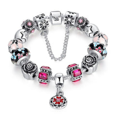 European Style 925 Silver Bracelet With Handmade Flower Charm Murano Bead - Purple