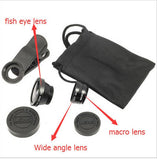 Cellphone Camera Lens Kit Set - Universal 3 in 1 - Black - Zasttra.com - 2